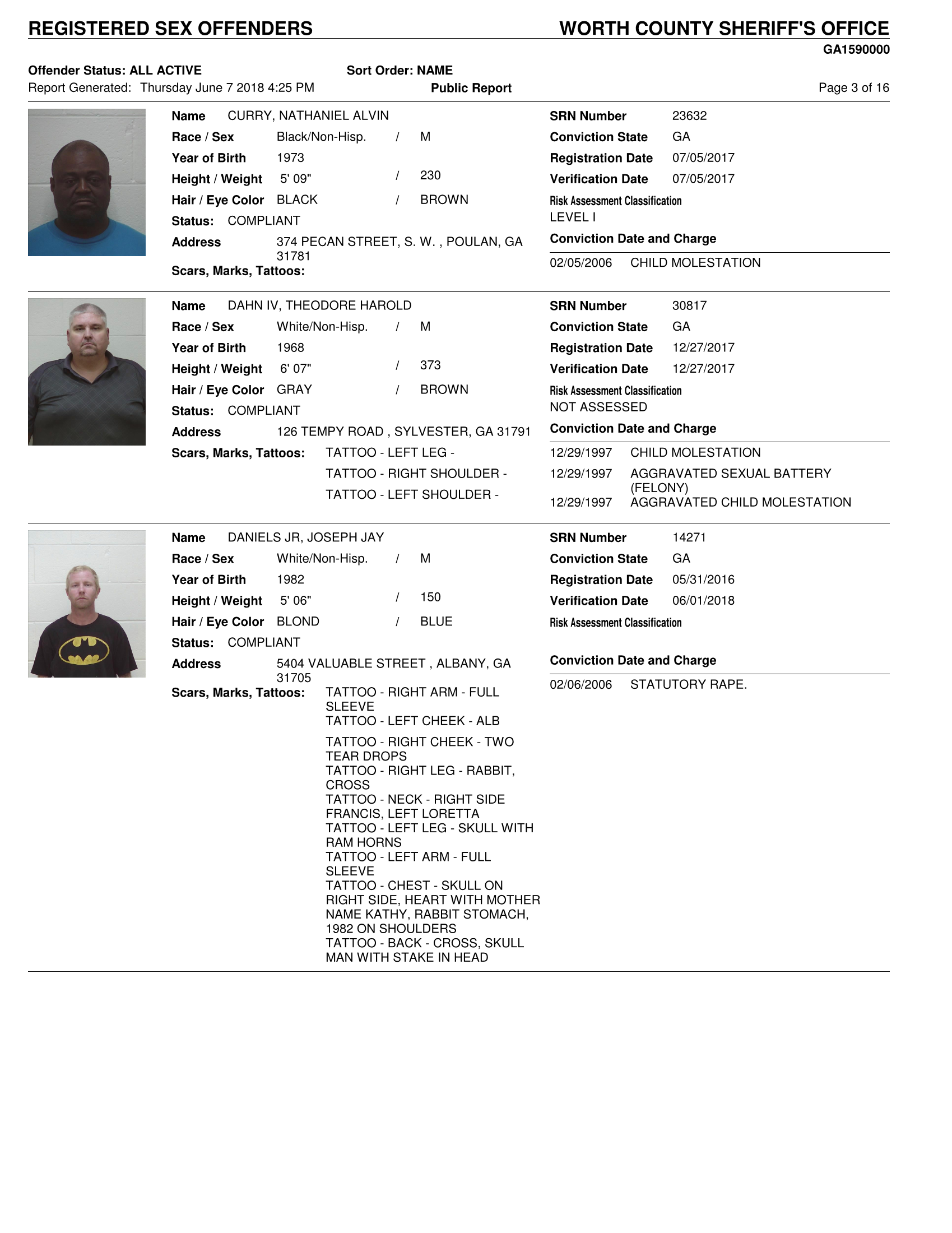 Sex Offenders | Worth County Sheriff