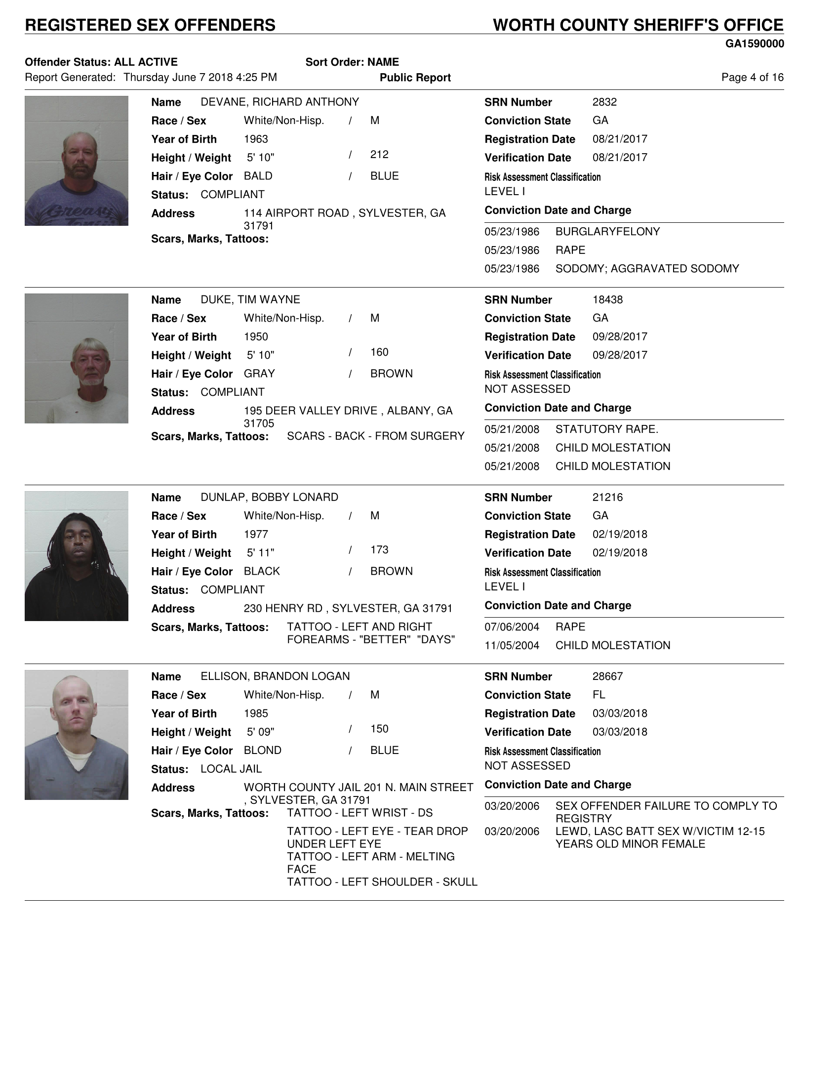 Georgia list offender sex state