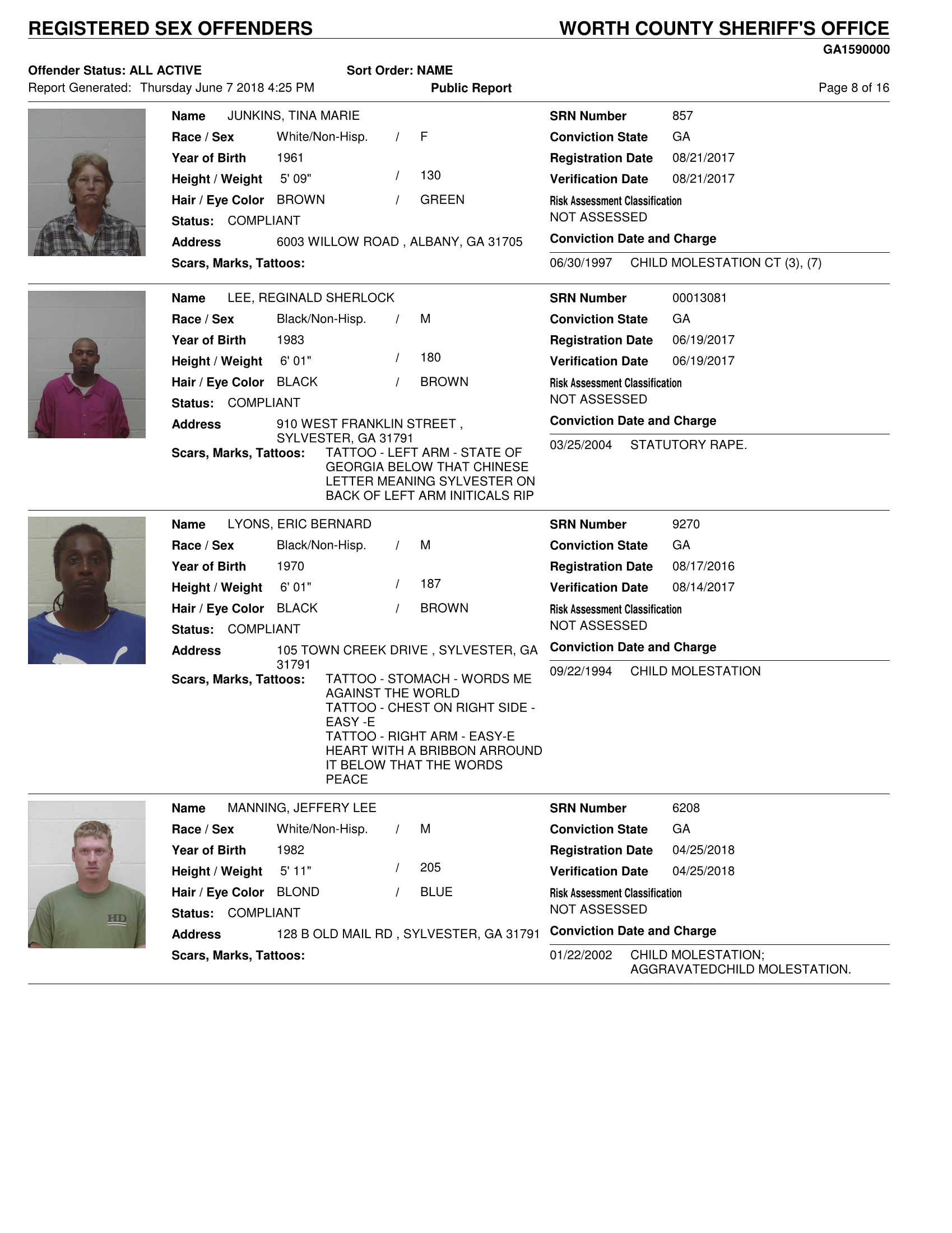 Sex Offenders List. (Click Here to Download the List or Scroll Down)